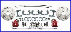 1958-68 Chevy Impala Bel Air Front Rear Red Wilwood Disc Brake Kit Chrome Master