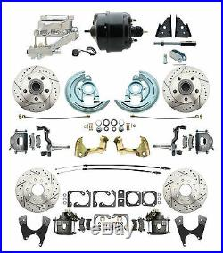 1964-1966 Chevelle Front & Rear Disc Brake Kit Chrome Flat Top Drilled/ Slotted