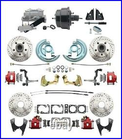 1964-72 A-Body All Wheel Performance Disc Brake Conversion Kit with Red Calipers