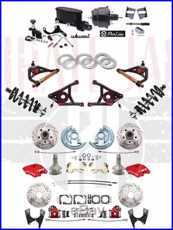 1964-72 Chevelle Wilwood 2 Drop Power Disc Kit, Front & Rear Red, with Suspension