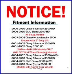 2001 2002-2010 Silverado Sierra 2500 HD Front+Rear 330mm Brake Rotor Ceramic Pad