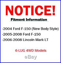 2005 2006 2007 2008 FORD F-150 4X4 6-Lug Front & Rear Rotors + Ceramic Pads