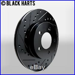 2 FRONT + 2 REAR Black Hart DRILLED & SLOTTED Disc Brake Rotors C1051