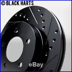 2 FRONT + 2 REAR Black Hart DRILLED & SLOTTED Disc Brake Rotors C1500