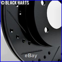 2 FRONT + 2 REAR Black Hart DRILLED & SLOTTED Disc Brake Rotors C2378