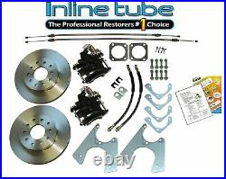 67-74 Staggered Rear End Axle Disc Brake Conversion Kit 10/12 Bolt Std Rotors