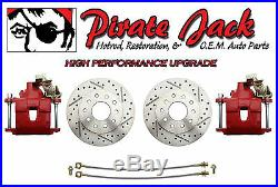 9 Ford Rear Disc Brake Kit, High Performance D/S Rotors, Red PC Calipers