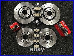 AUDI A4 B7 8E SLINE BRAKE DISC DRILLED GROOVED FRONT REAR 320mm 288mm & PADS
