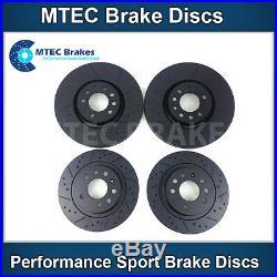 Astra Zafira VXR MTEC Dimpled Grooved Black Brake Discs Front Rear & Brembo Pads