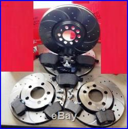 Audi Tt 1.8t Quattro 225 HP Front Rear Drilled Curved Grooved Brake Discs Pads