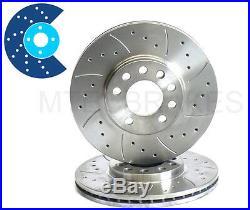 BMW E90 E91 E92 E93 335i 335d Rear MTEC Drilled Grooved Brake Discs