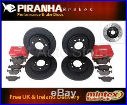 BMW Saloon E60 E61 535d 10/04- Front Rear Brake Discs Black Dimpled Grooved Pads