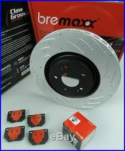 BREMBO pads & BREMAXX slotted disc brake rotors REAR for NISSAN R32 R33 R34 GTST