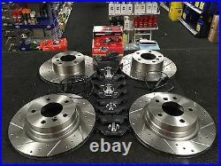 Bmw 318d 320d E90 Msport Brake Disc Cross Drilled Grooved Brake Disc Mintex Pads