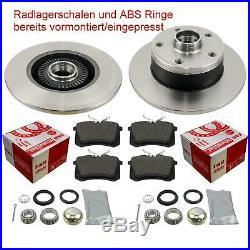 Bremsen hinten AUDI A4 8D B5 Bremsscheiben Beläge vormontiert ABS Ringe Radlager