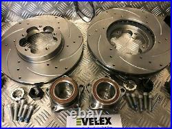 DRILLED GROOVED Ford Transit TDCi MK7 LWB FWD RWD Front Brake Discs Pads Bearing