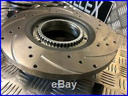 FORD TRANSIT FRONT & REAR DRILLED & GROOVED DISCS & PADS SENSORS TDCi MK7 SWB