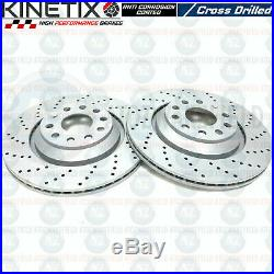 FOR AUDI S3 (8P) FRONT REAR CROSS DRILLED BRAKE DISCS BREMBO PADS 345mm 310mm