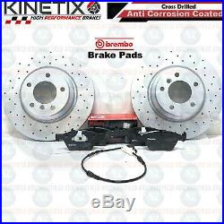FOR BMW 1 3 SERIES 330mm FRONT REAR DRILLED BRAKE DISCS BREMBO PADS WIRE SENSOR