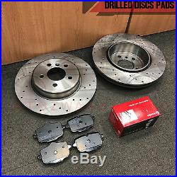 FOR BMW 530d 535d F10 F11 REAR DRILLED COATED BRAKE DISCS BREMBO PADS 345mm