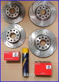 FOR VW GOLF MK5 FSi TSi GTi TDi SDi FRONT REAR DRILLED BRAKE DISCS + BREMBO PAD