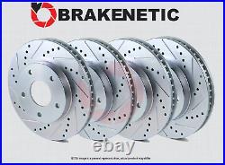 FRONT+REAR BRAKENETIC SPORT Drilled Slotted Brake Disc Rotors BSR84466