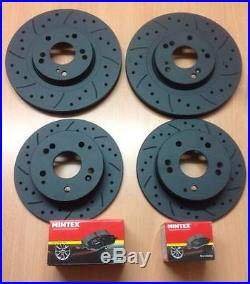 Focus ST225 Front Rear MTEC Black Edition Brake Disc Pads Kit Drilled Grooved
