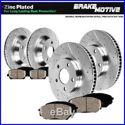 For 2002 2004 2005 Dodge RAM 1500 Front Rear Drill Brake Rotors & Ceramic Pads