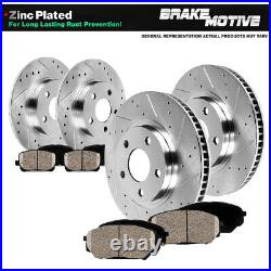 For 2005 2010 Jeep Grand Cherokee Front+Rear Drill Brake Rotors Ceramic Pads