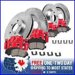 For Aspen Durango Ram 1500 Front + Rear Brake Calipers Drilled Rotors Brake Pads