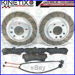 For Audi Q7 Vw Touareg Porsche Cayenne Front Rear Drilled Brake Discs Pads Wires