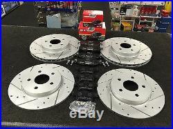 For Jaguar X Type Sport Brake Disc Drilled Grooved Mintex Pads Front Rear Sets