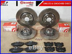 For Renault Clio Sport 172 182 Front Rear Drilled Grooved Brake Discs Brembo Pad