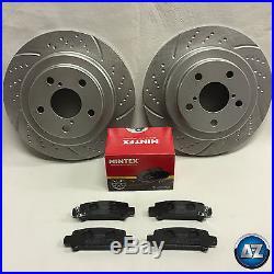For Subaru Impreza -2000 GC8 WRX STI P1 Rear Grooved Brake Discs Pads 266 Vented
