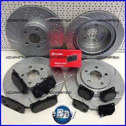 For Subaru Impreza Wrx 2.0 2.5 Turbo Front Rear Brembo Brake Pads Grooved Discs