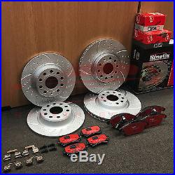 For Vw Golf Mk6 Gti Front Rear Dimpled Grooved Brake Discs Trw Performance Pads