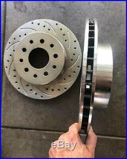 Ford 9 Inch S/B Bearing Rear Disc Brake Kit Drilled/Slotted Rotors Red E-Brake