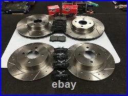 Ford Focus Mk1 Rs Brake Discs Cross Drilled Grooved & Mintex Brake Pads