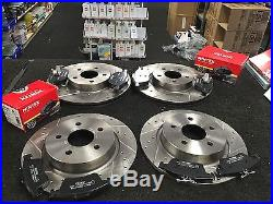 Ford Focus Rs Mk2 Cross Drilled Grooved Brake Disc Mintex Pad Front Rear