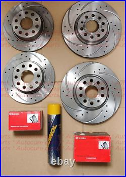 Ford Focus St225 Front & Rear Drilled Grooved Brake Discs + Brembo Pads