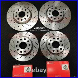 Front And Rear Drilled Brake Discs & Brembo Pads For Vw Golf R Mk7 New