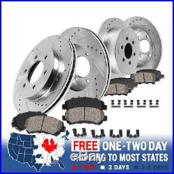 Front And Rear Drilled & Slotted Brake Rotors And Ceramic Brakes For Chevy GMC