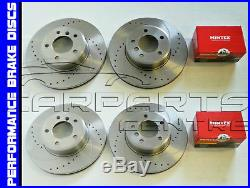 Front And Rear Performance Drilled And Grooved Brake Discs Mintex Pads