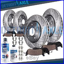 Front Rear DRILL Brake Rotors & Ceramic Pads for 2005 2010 JEEP GRAND CHEROKEE
