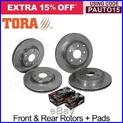 Front & Rear Disc Brake Rotors + Pads Pack Commodore VE Statesman WM 20062013