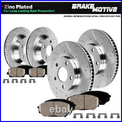 Front+Rear Drill Brake Rotors And Ceramic Pads For 2005 2013 Chevy Corvette C6