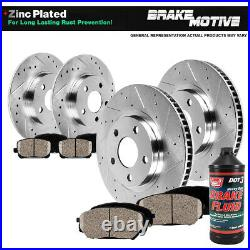 Front+Rear Drill Brake Rotors And Ceramic Pads For Lexus HS250H Toyota Rav 4