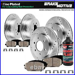 Front+Rear Drill Brake Rotors Ceramic Pads For 2004 2007 2008 Ford F-150 4X4