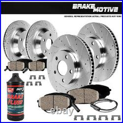 Front+Rear Drill Brake Rotors +Ceramic Pads For 2010 2015 Mercedes-Benz GLK350