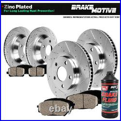 Front+Rear Drill Brake Rotors Ceramic Pads For 2011 2015 Ford Edge 11 13 MKX